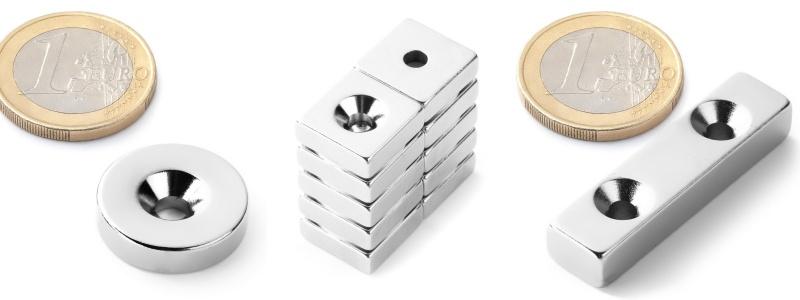 Typy magnetů s otvorem pro šroub.