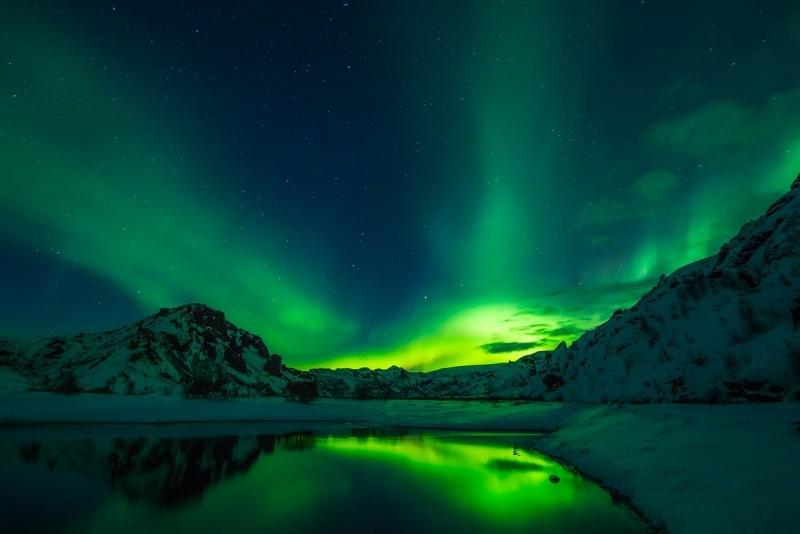 Polární záře na Islandu.