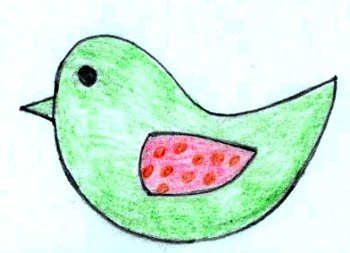 Plstěný ptáček jako magnetka.